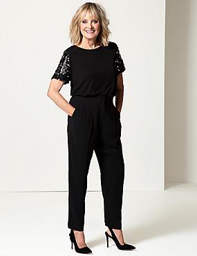 Sparkly Round Neck Short Sleeve T-Shirt, BLACK MIX, catlanding