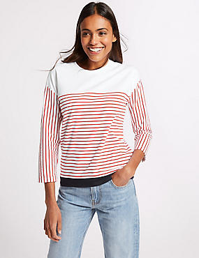 Pure Supima Cotton Striped 3/4 Sleeve T-Shirt, RED MIX, catlanding