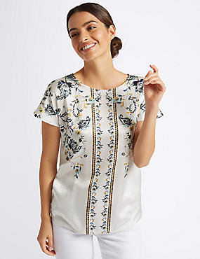 Satin Print Round Neck Short Sleeve Top , IVORY MIX, catlanding