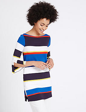 Striped 3/4 Sleeve Longline Tunic