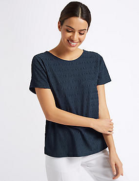 Textured Round Neck Short Sleeve T-Shirt , NAVY, catlanding
