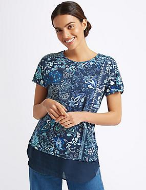 Cotton Rich Floral Print Short Sleeve Tunic, IVORY MIX, catlanding