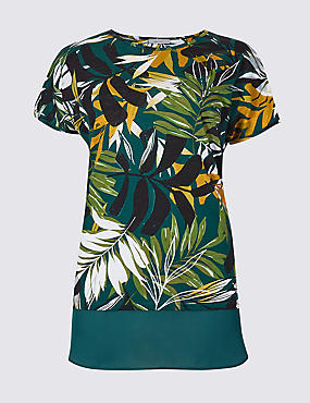 Cotton Rich Palm Print Short Sleeve Tunic, IVORY MIX, catlanding