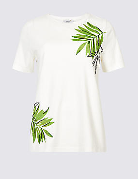 Pure Cotton Embroidered Short Sleeve Top, WHITE MIX, catlanding