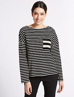 Pure Cotton Striped Long Sleeve T-Shirt