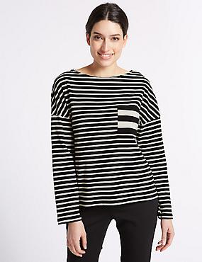 Pure Cotton Striped Long Sleeve T-Shirt , BLACK MIX, catlanding