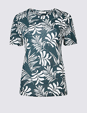 Palm Print Round Neck Short Sleeve T-Shirt, IVORY MIX, catlanding