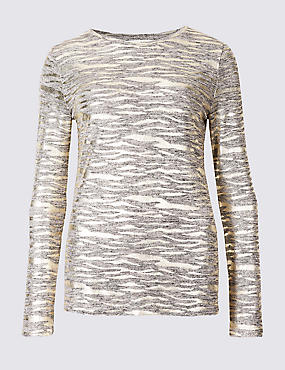 Animal Print Round Neck Long Sleeve Top, GOLD, catlanding