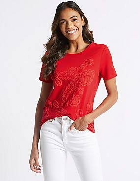 Pure Cotton Paisley Short Sleeve T-Shirt, BRIGHT RED, catlanding