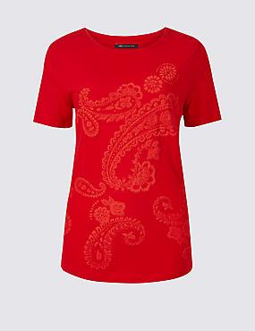 Pure Cotton Paisley Short Sleeve T-Shirt, BRIGHT RED, catlanding