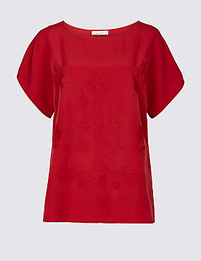 Embroidered Round Neck Short Sleeve T-Shirt , DARK RED, catlanding