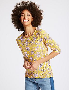 Floral Print Raglan 3/4 Sleeve T-Shirt  , YELLOW MIX, catlanding