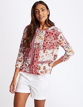 Floral Print Boat Neck 3/4 Sleeve Sweatshirt, IVORY MIX, catlanding