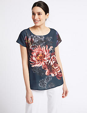 Floral Print Short Sleeve T-Shirt , NAVY MIX, catlanding