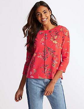 Floral Print Boat Neck 3/4 Sleeve Sweatshirt, CORAL MIX, catlanding