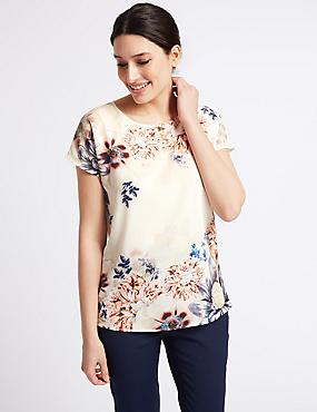 Floral Print Woven Front Slash Neck T-Shirt, IVORY MIX, catlanding