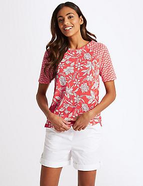 Floral Print Raglan Short Sleeve T-Shirt , CORAL MIX, catlanding