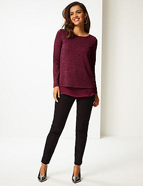 Sparkly Round Neck Long Sleeve Tunic, BERRY, catlanding