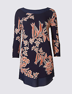 Floral Print Slash Neck 3/4 Sleeve Tunic , NAVY MIX, catlanding