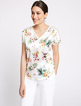 Pineapple Print V-Neck Short Sleeve Top , IVORY MIX, catlanding