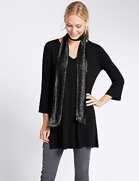 Metallic Scarf Layer Tunic