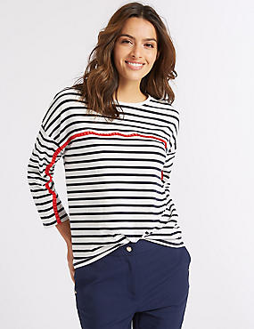 Cotton Rich Striped Long Sleeve Top  , IVORY MIX, catlanding