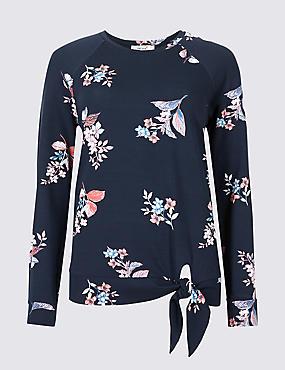 Floral Print Tie Front Sweatshirt, NAVY MIX, catlanding