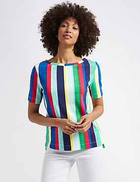 Striped Round Neck Short Sleeve Top , GREEN MIX, catlanding