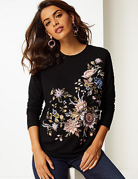 Floral Print Round Neck Long Sleeve Top , BURGUNDY MIX, catlanding