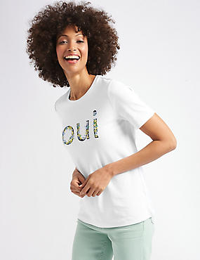Pure Cotton Embroidered Short Sleeve Top , WHITE MIX, catlanding