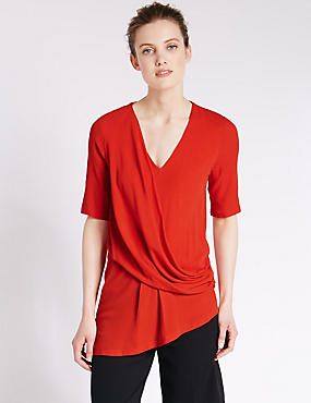 Loose Fit Drape Front Longline Top