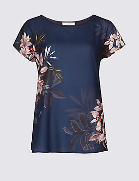 Floral Print Round Neck Short Sleeve T-Shirt, NAVY MIX, catlanding
