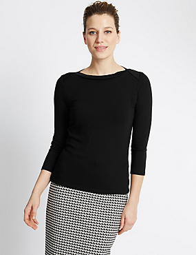 3/4 Sleeve Slash Neck Top