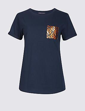 Pure Cotton Foil Pocket Short Sleeve T-Shirt, NAVY MIX, catlanding