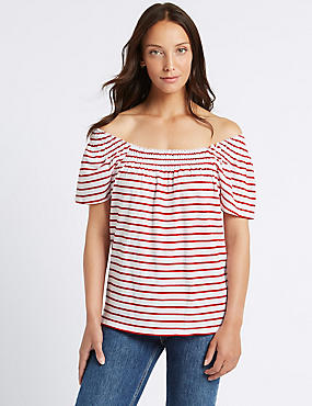 Cotton Rich Striped Short Sleeve Bardot Top, RED MIX, catlanding