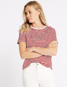 Pure Supima Cotton Striped T-Shirt, RED MIX, catlanding