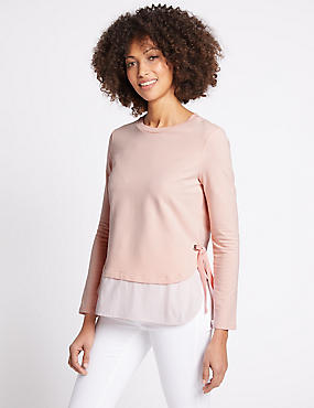Cotton Rich Tie Side Double Layer T-Shirt, PINK MIX, catlanding