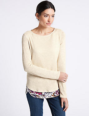 Textured Slash Neck Long Sleeve Top