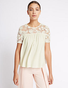 Embroidered Floral Lace Half Sleeve T-Shirt