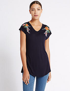 Pure Modal Floral Embroidered T-Shirt