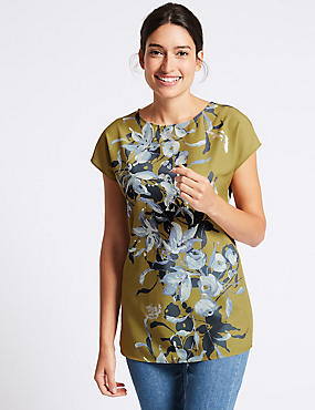 Floral Foil Print Short Sleeve Tunic