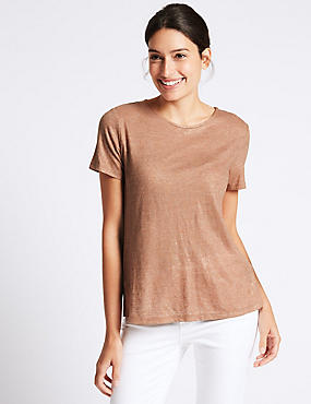 Cotton Blend Metallic Short Sleeve T-Shirt
