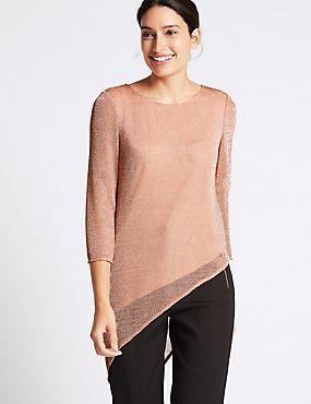 Metallic Asymmetric 3/4 Sleeve Tunic