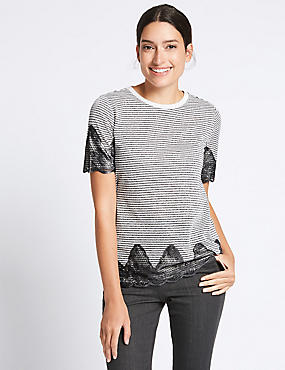 Cotton Blend Metallic Stripe Lace T-Shirt