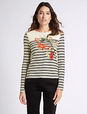 Pure Cotton Striped & Embroidered T-Shirt