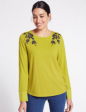 Pure Cotton Embroidered Long Sleeve T-Shirt