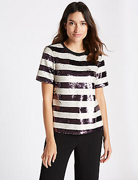 Sequin Striped Short Sleeve T-Shirt