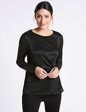 Metallic Side Pleat Long Sleeve Top