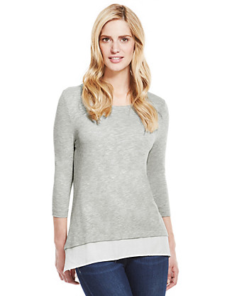 Round Neck Double Layered Top Clothing
