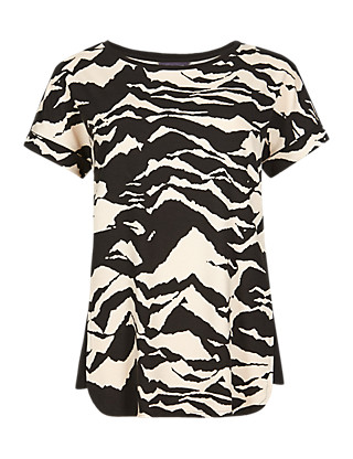 Zebra Print Panelled T-Shirt Clothing